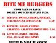 Bite Me Burgers Menu