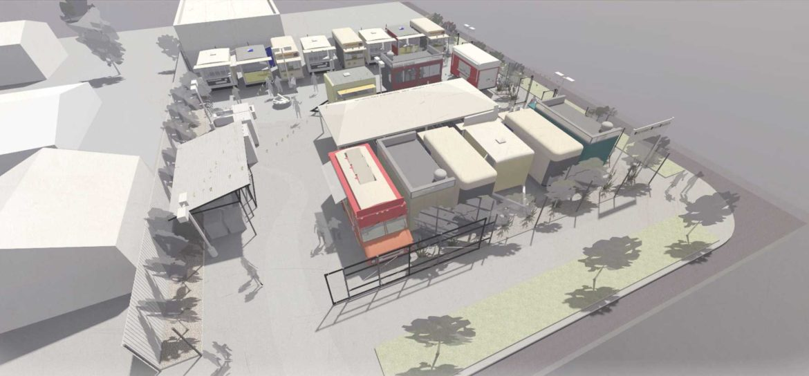 The Yard at Montavilla · Food Carts - 3D Site Rendering (South View)