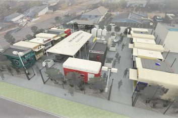 The Yard at Montavilla · Food Carts - 3D Site Rendering (East View)